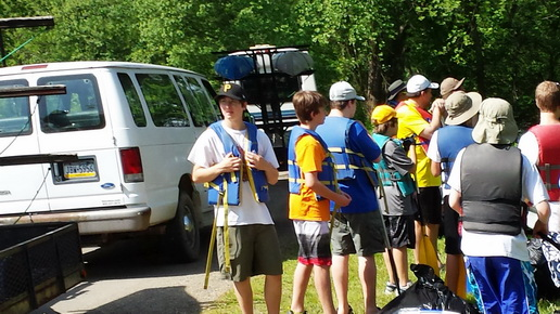 Getting the safety instructions before heading up the river.